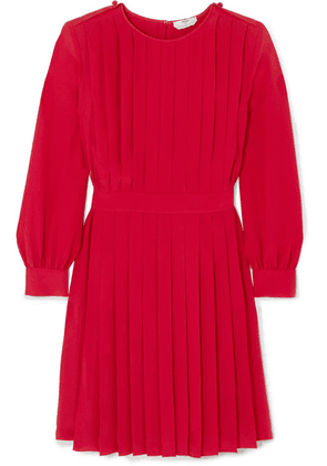 Fendi - Pleated Silk Crepe De Chine Dress - Red