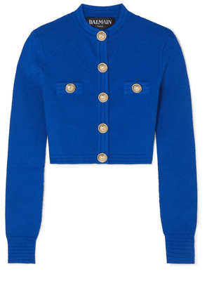 Balmain - Button-embellished Jacquard-knit Cardigan - Cobalt blue