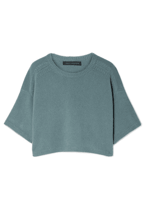Sally LaPointe - Cropped Cashmere And Silk-blend Sweater - Gray green