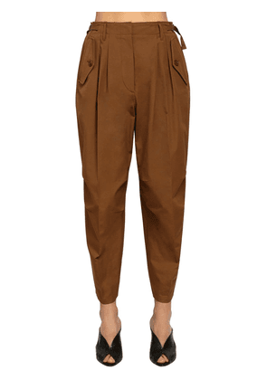 High Waist Cotton Canvas Cargo Pants
