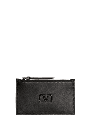 Zipped Leather Card Holder W/enamel Logo