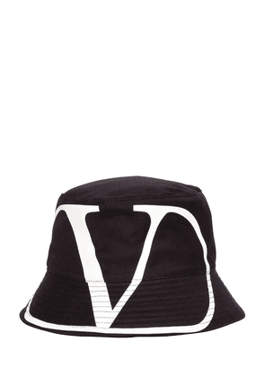 V Logo Printed Cotton Bucket Hat