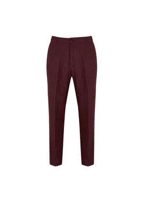 Burgundy Linen Trousers with Drawstring Waist