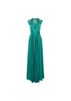 Catherine Deane Brooke Embroidered Tulle-paneled Satin-jersey Gown Woman Jade Size 6