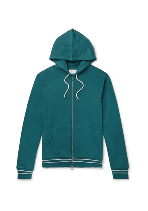 Mr P. - Contrast-tipped Loopback Cotton-jersey Hoodie - Teal