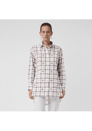 Burberry Equestrian Knight Check Cotton Shirt, Size: 16, White