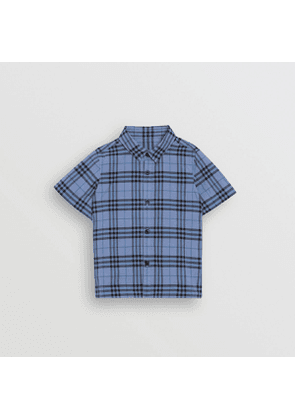 Burberry Childrens Short-sleeve Check Cotton Shirt, Size: 8Y, Blue