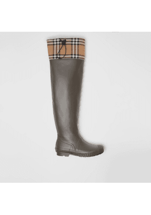 Burberry Vintage Check and Rubber Knee-high Rain Boots, Size: 39, Green