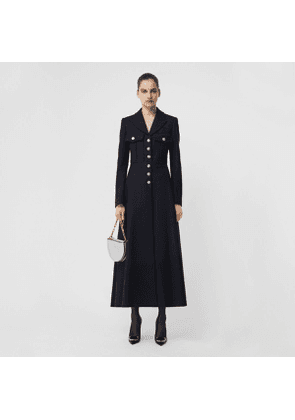 Burberry Melton Wool Tailored Coat, Size: 16, Blue