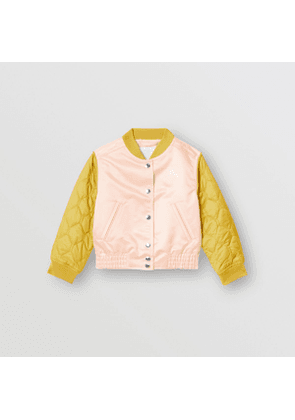 Burberry Childrens Contrast-sleeve Nylon Bomber Jacket, Size: 4Y, Pink