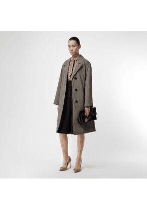 Burberry Check Wool Oversized Coat, Size: 14, Taupe