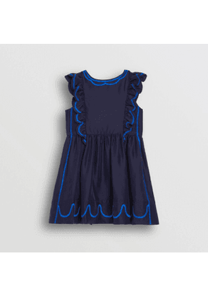 Burberry Childrens Ruffle Detail Embroidered Silk Dress, Size: 4Y, Blue