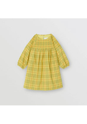 Burberry Childrens Smocked Check Cotton Dress, Size: 4Y, Yellow