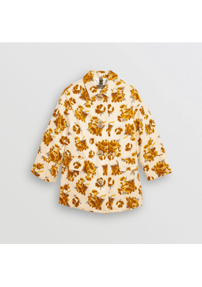 Burberry Childrens Floral Velvet Jacquard Car Coat with Warmer, Size: 3Y, Yellow