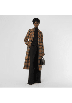 Burberry Vintage Check Alpaca Wool Tailored Coat, Size: 08, Yellow