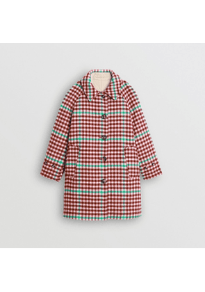 Burberry Childrens Reversible Check Wool and Cotton Car Coat, Size: 8Y, Pink