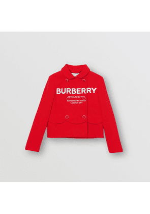 Burberry Childrens Logo Print Crepe Jersey Double-breasted Jacket, Size: 3Y, Bright Red
