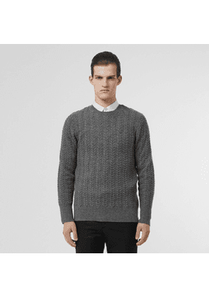 Burberry Cable Knit Cashmere Sweater, Size: XXL, Grey