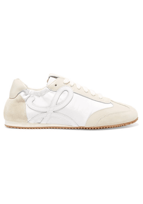 Loewe - Suede And Leather Sneakers - White