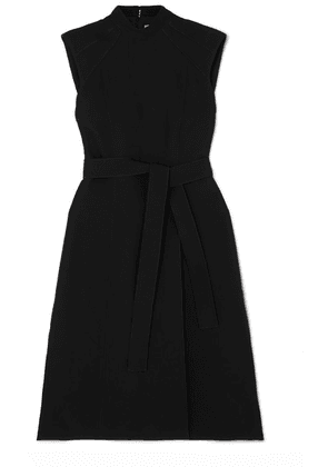 Burberry - Belted Wool And Silk-blend Midi Dress - Black