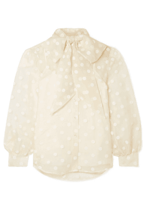 Marc Jacobs - Pussy-bow Flocked Silk-organza Blouse - Cream