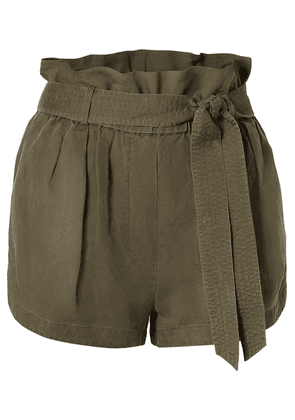 FRAME - Belted Linen-blend Shorts - Army green
