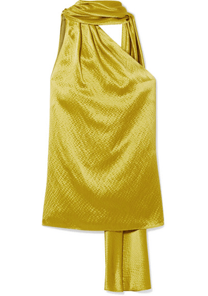 Brandon Maxwell - One-shoulder Hammered Silk-satin Blouse - Chartreuse