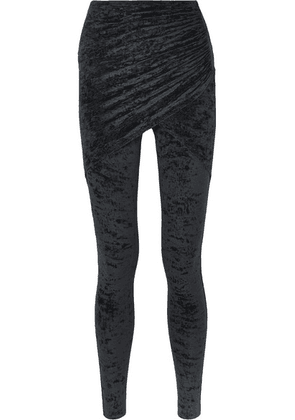Balenciaga - Draped Crushed-velvet Leggings - Black