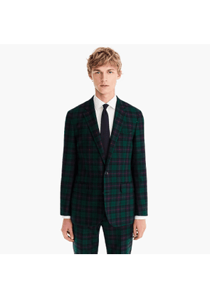 Ludlow Slim-fit unstructured suit jacket in Wells tartan English wool-cotton twill