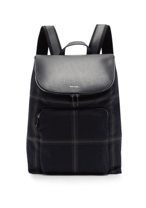 Paul Smith - Checked Wool Blend And Leather Backpack - Mens - Blue