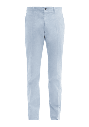 Connolly - Slim Leg Stretch Cotton Chambray Trousers - Mens - Blue
