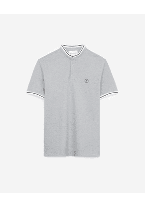 The Kooples - grey cotton polo shirt with stand-up collar - gry