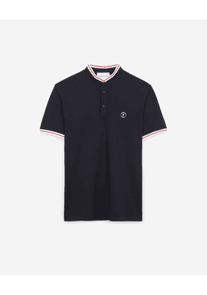 The Kooples - blue cotton polo shirt with rubber logo - navy