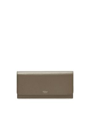Mulberry Continental Wallet in Solid Grey Small Classic Grain