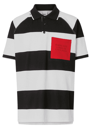 Burberry Rugby Stripe Tipped Cotton Piqué Polo Shirt - Black