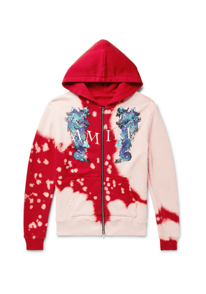 AMIRI - Logo-embroidered Printed Loopback Cotton-jersey Zip-up Hoodie - Red
