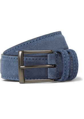 Anderson's - 3.5cm Blue Suede Belt - Blue