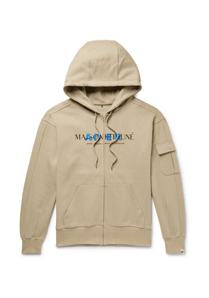 Maison Kitsuné - + Ader Error Oversized Logo-print Cotton-blend Jersey Zip-up Hoodie - Beige
