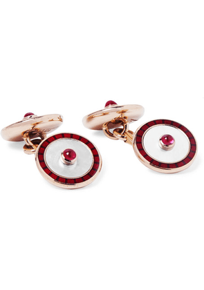 Deakin & Francis - 18-karat Gold, Mother-of-pearl, Ruby And Enamel Cufflinks - Red