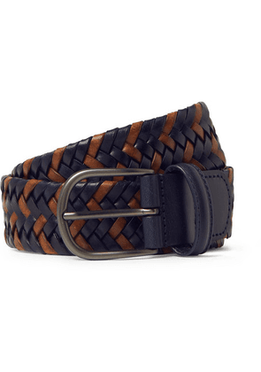Anderson's - 3.5cm Navy Woven Leather Belt - Navy