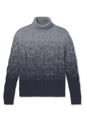 Incotex - Slim-fit Cable-knit Ombré Virgin Wool And Cashmere-blend Rollneck Sweater - Gray