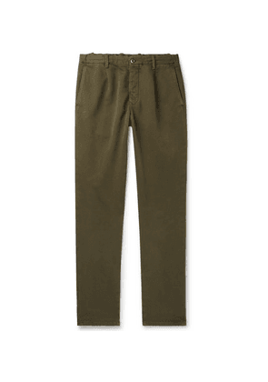 Incotex - Tapered Garment-dyed Cotton-blend Drawstring Trousers - Green
