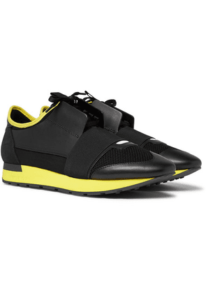 Balenciaga - Race Runner Leather, Suede And Neoprene Sneakers - Black