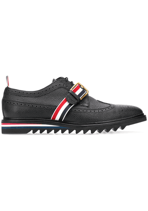 Thom Browne Rwb Webbing Longwing Brogue - Black