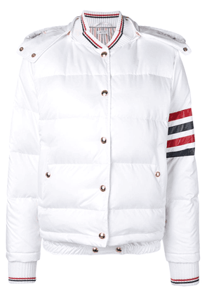 Thom Browne 4-Bar Down Hood Bomber - White