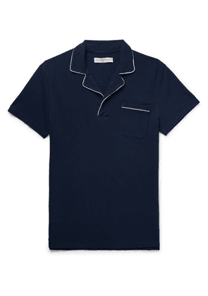Orlebar Brown - Donald Slim-fit Piped Cotton-piqué Polo Shirt - Navy