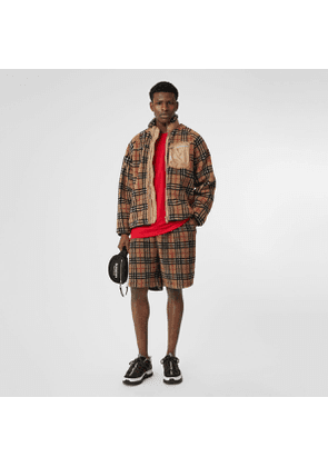 Burberry Vintage Check Faux Shearling Jacket, Beige