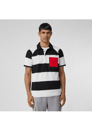 Burberry Rugby Stripe Tipped Cotton Piqué Oversized Polo Shirt, Black