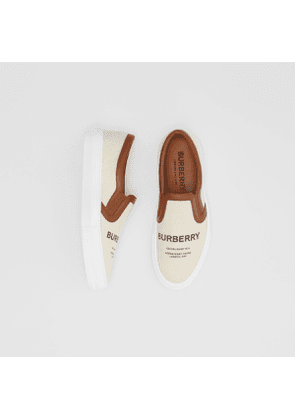 Burberry Horseferry Print Cotton and Leather Slip-on Sneakers, Size: 35, Brown