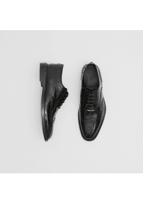 Burberry D-ring Detail Monogram Patent Leather Brogues, Size: 40, Black